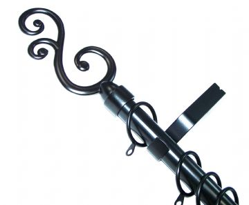 19mm Matt Black Curtain Pole System with Spiral Curl Finials 1.2m 1.5m 2.4m 3m